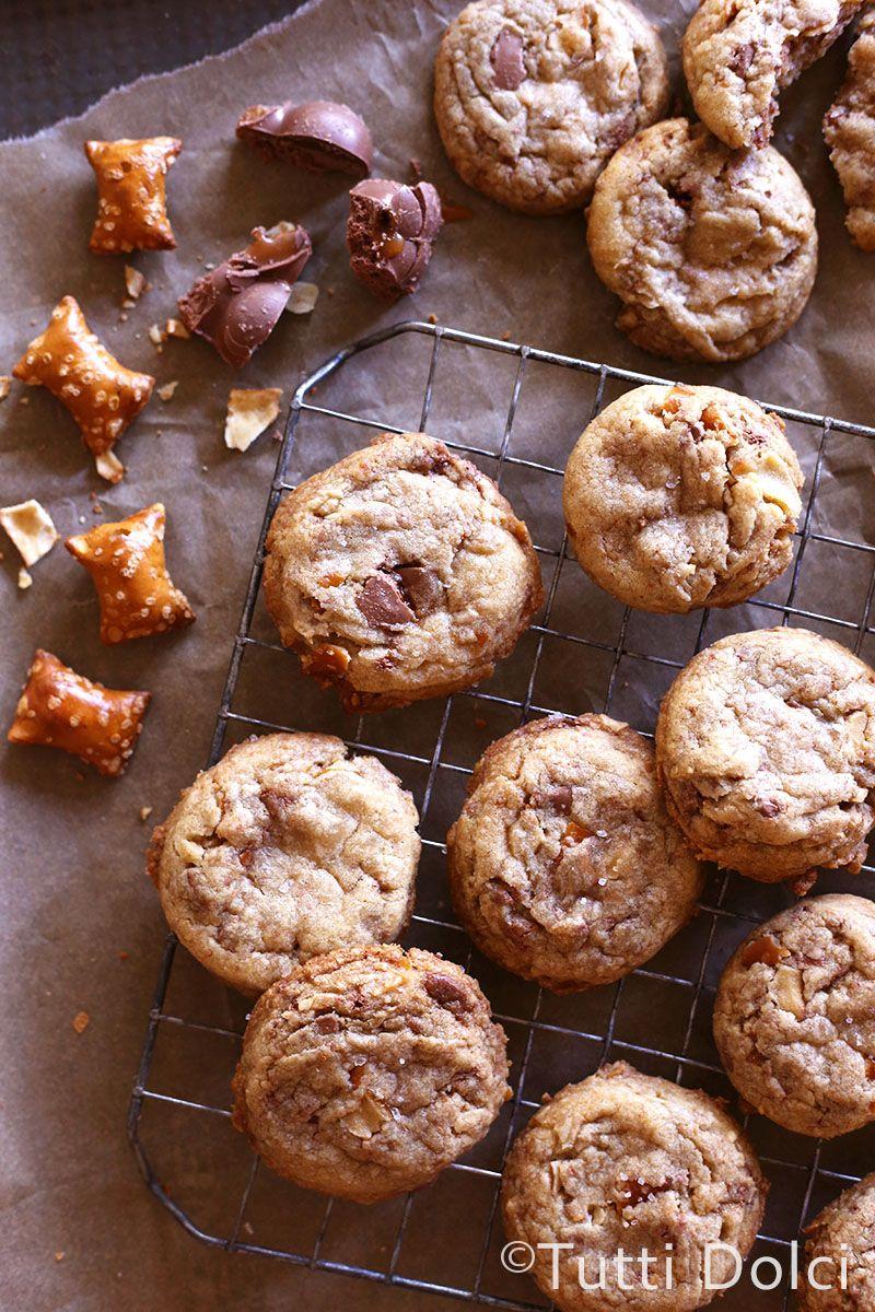 Peanut Butter Pretzel Chocolate Caramel Cookies | Receta | Galleta ...