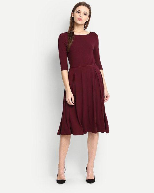 1bd34d1decd Burgundy Lucy Flare Midi Dress