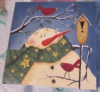 Bonhomme de neige sur toile …   Peinture décorative ...