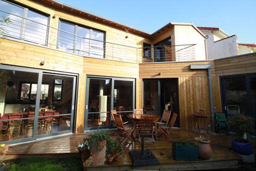 Maison Bois Toiture Terrasse Végétalisée - Fenêtre sur cour - Toit