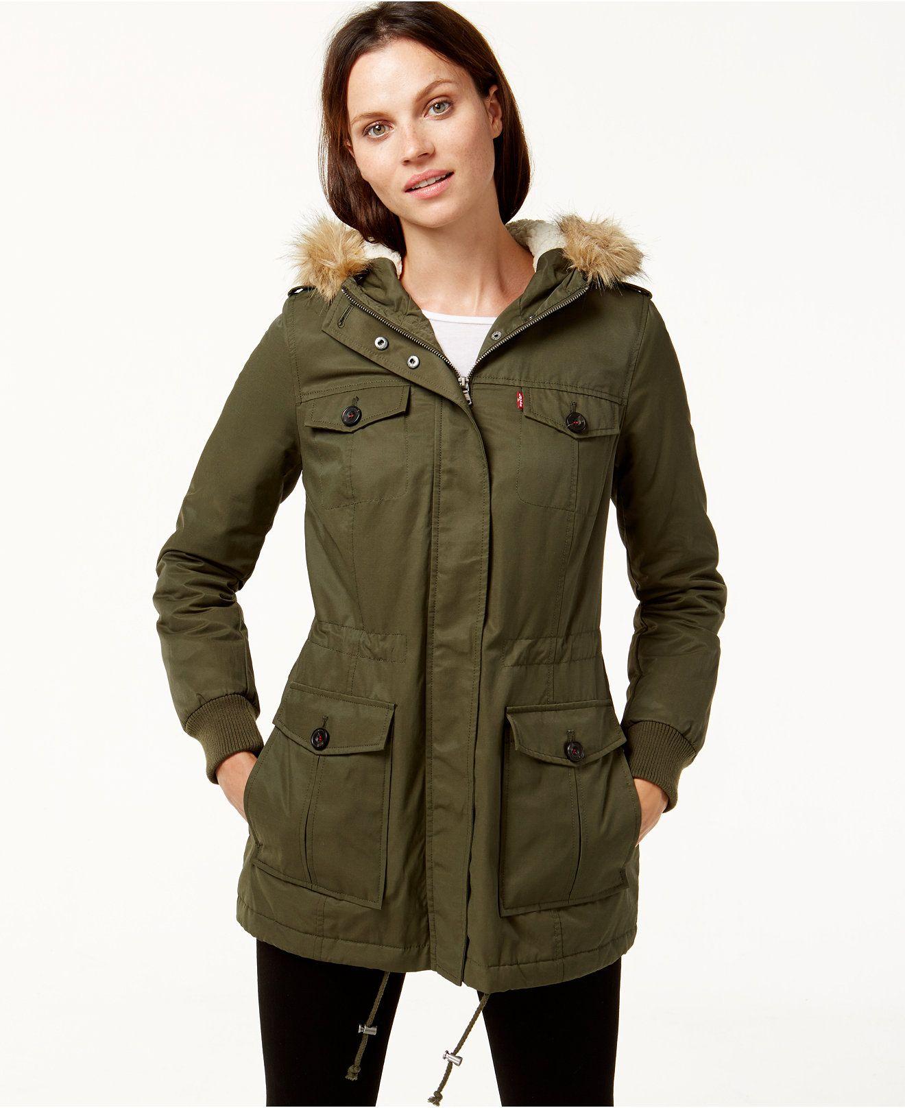 Levi S Hooded Faux Fur Sherpa Lined Jacket Coats Women Macy S Hooded Faux Sherpa Lined Jacket Jackets [ 1616 x 1320 Pixel ]