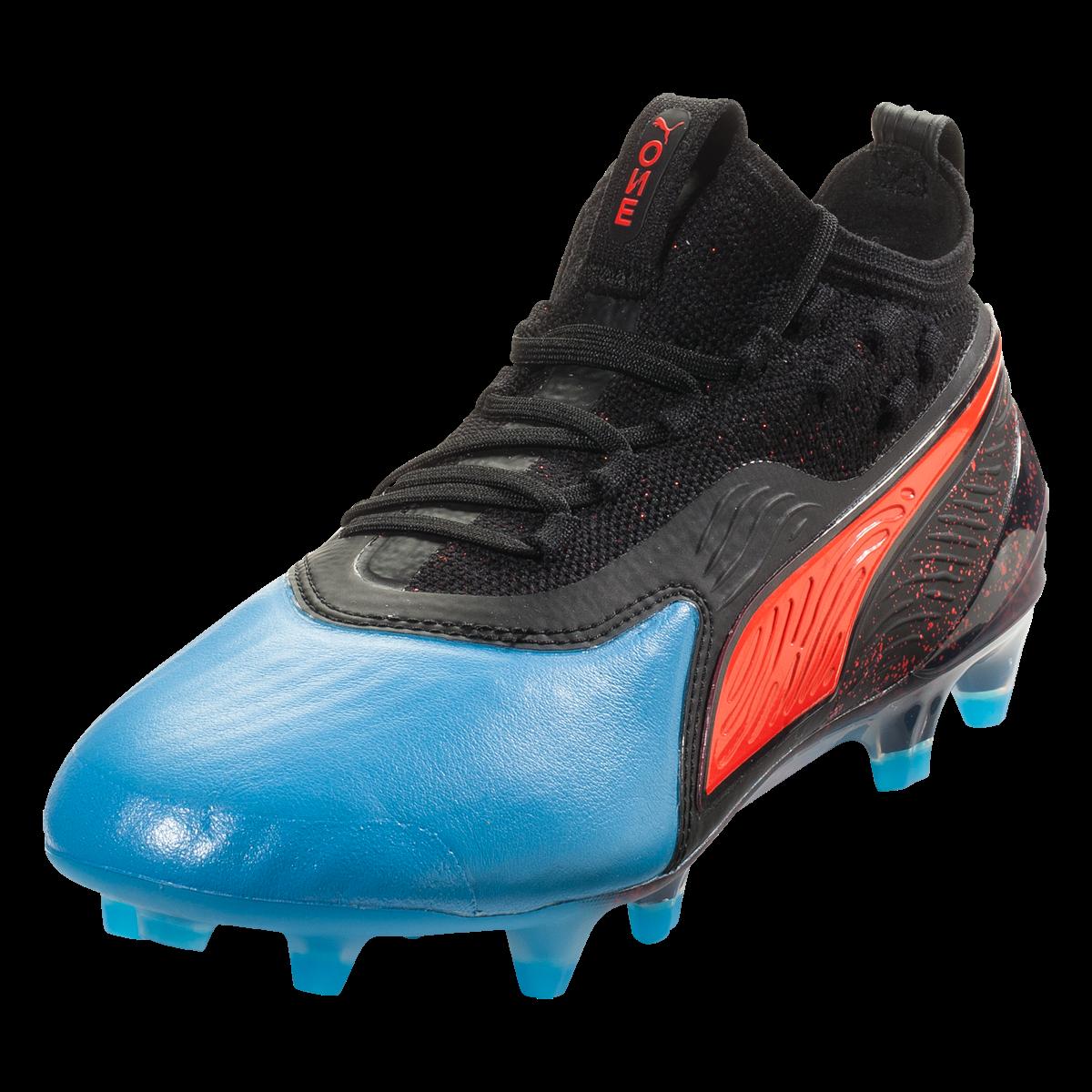 PUMA ONE 19.1 FG/AG Junior Soccer Cleat - Blue Azur/Red ...
