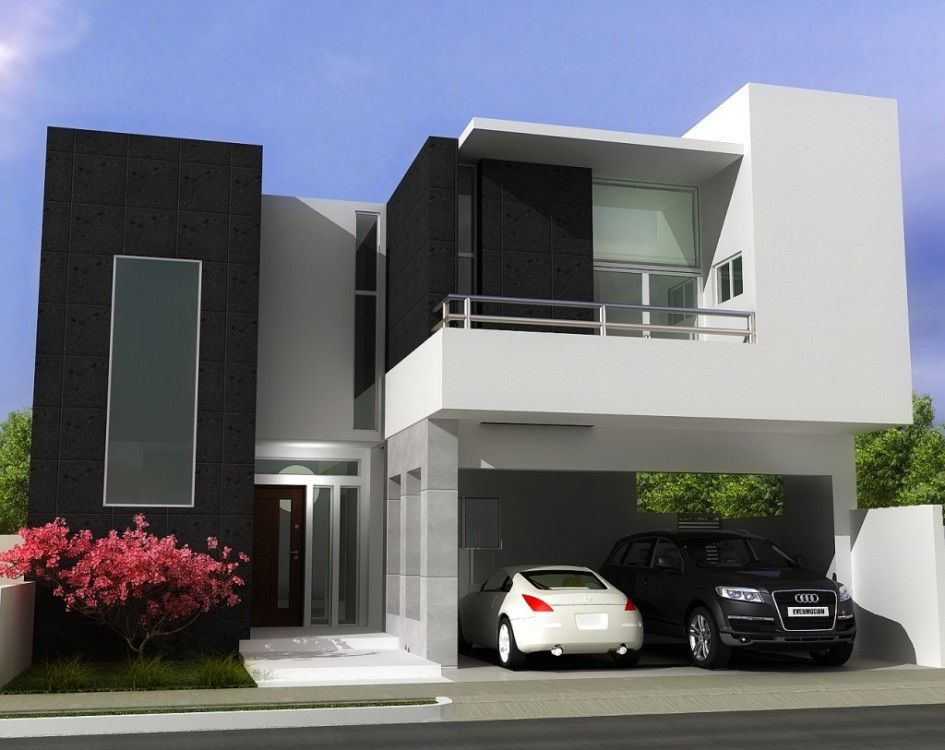 Interior, Minimalist Home Design Facade White Wall Square Glass Window Black Wall Car Garage Stainless Stell Railing Flat Roof Frosted Glass...