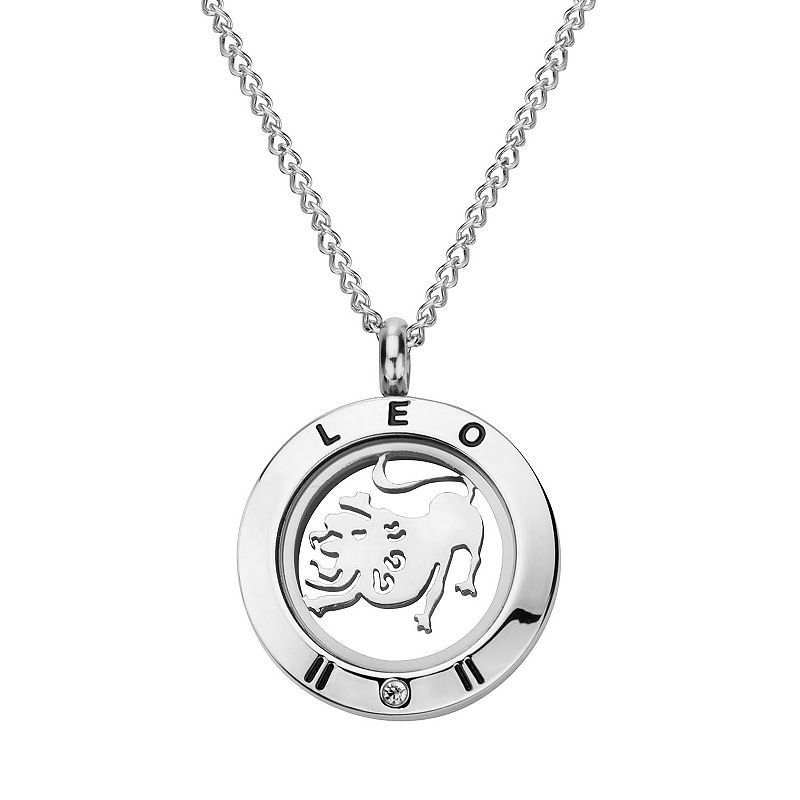 "Cubic Zirconia Stainless Steel Zodiac Sign Locket Necklace, Women's, Size: 18"", Grey"