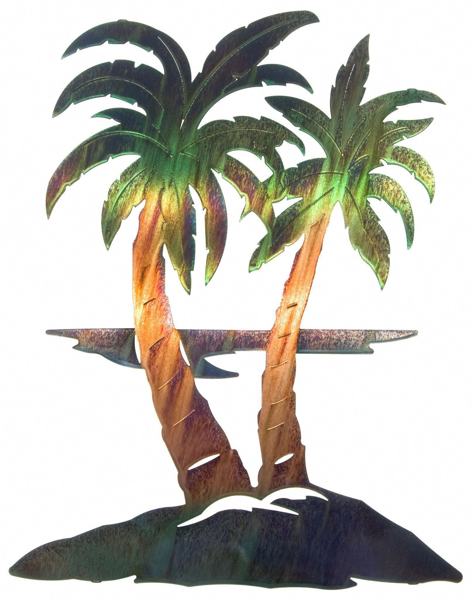 Tropical palm trees metal wall art metal tree pinterest metal
