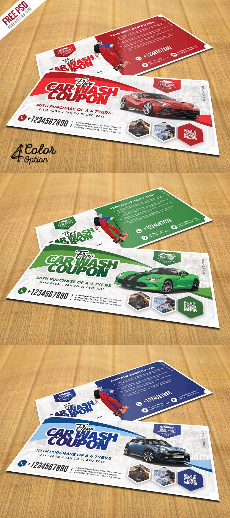 Car wash coupon template psd set industrial construccin car wash coupon template psd set maxwellsz