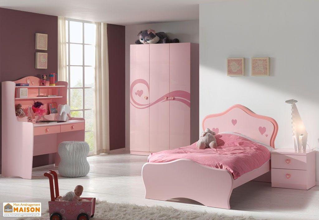 Chambre Complète De Princesse 1 Lit Armoire 3p Chevet Bureau
