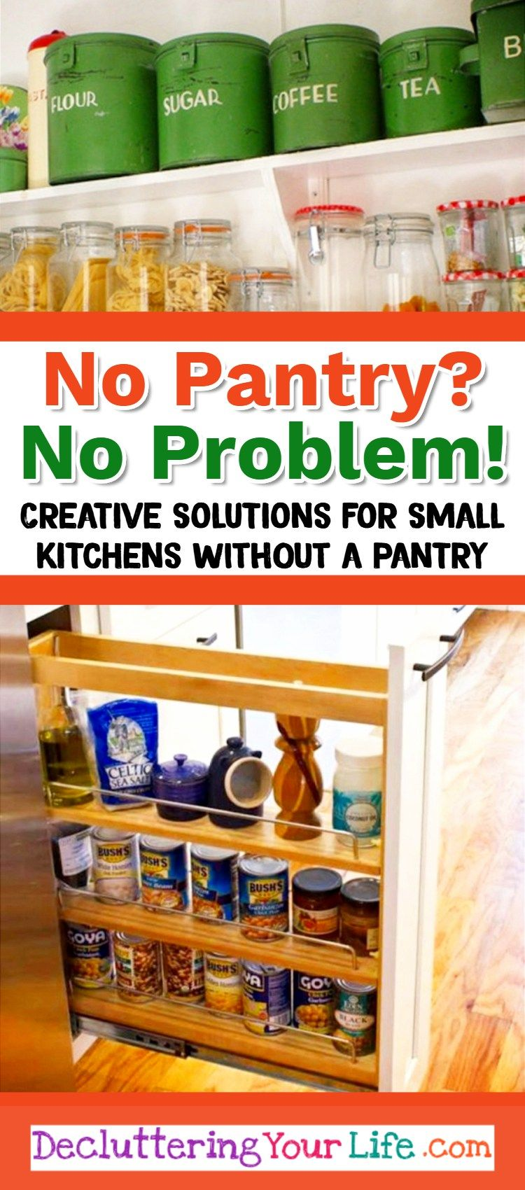 No Pantry solutions and small kitchen organization ideas and hacks for kitchens without a pantry #smallkitchenorganization #nopantry #nopantrysolutions #gettingorganized #storagesolutions #kitchenstorage #smallkitchens