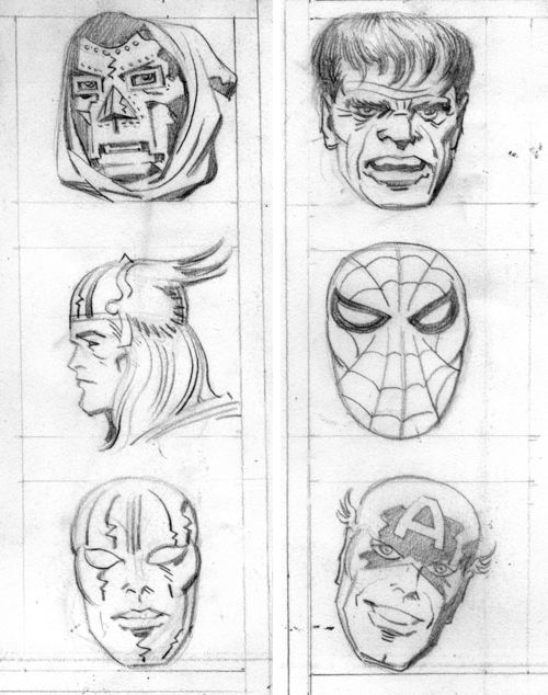 A series of penciled heads of assorted Marvel characters by Jack Kirby, presumably for a set of buttons that Marvelmania put out. What's interesting about these is that apparently they can be found on the back of Kirby's original design sheet for the New Gods character Metron.