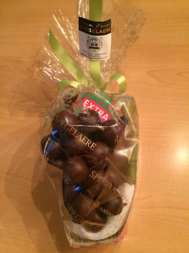 Belgian chocolate from Bruges, pure chocolate filled with marsepein, made like  grapes