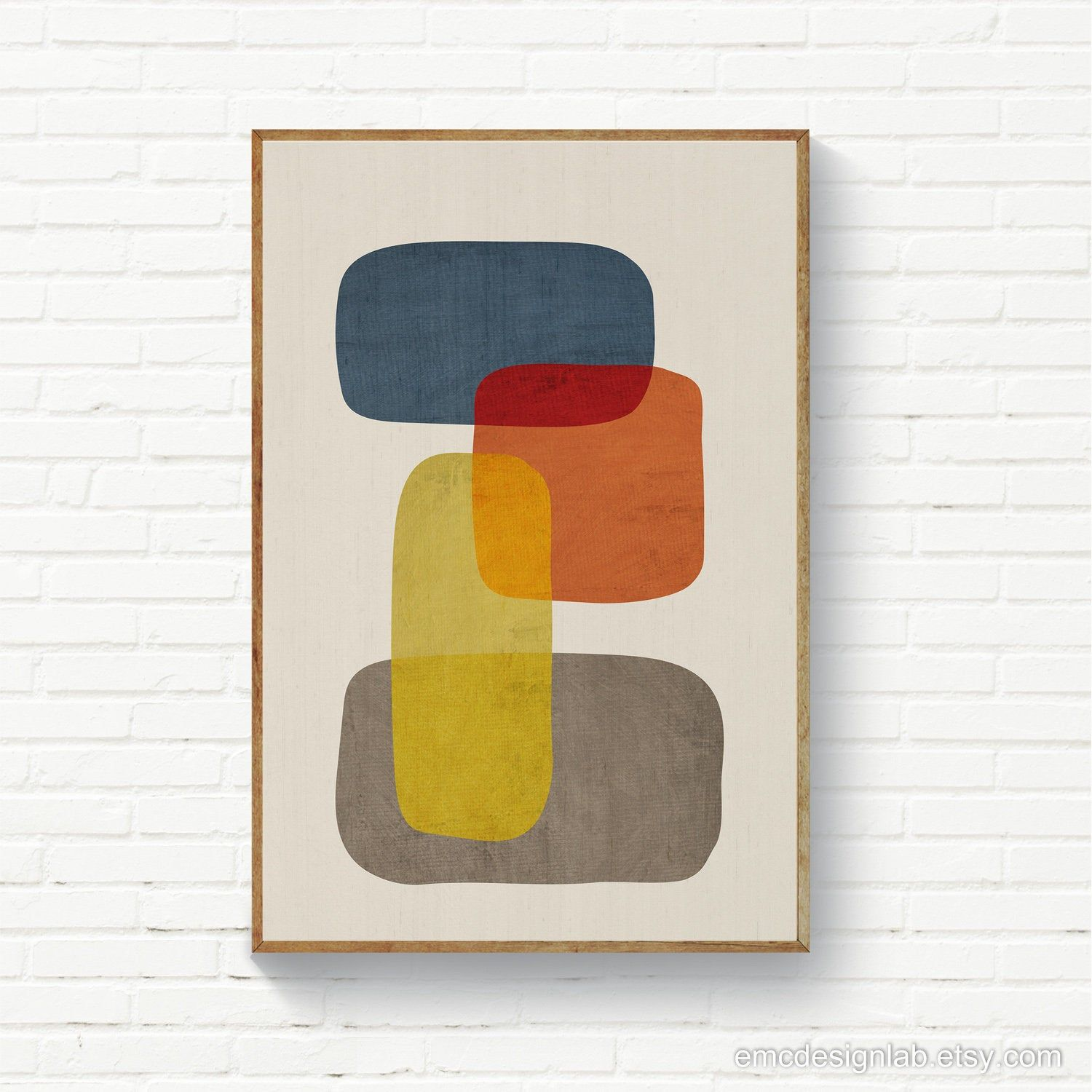 Minimalist Mid Century Modern Organic Shapes Abstract Artwork In Orange Yellow Gray Blue Minimalism Modern Art Instant Download Original Wall Art Modern Art Colorful Art