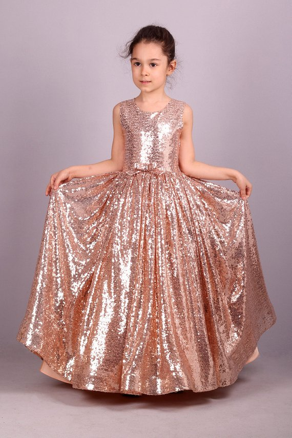 4f84fef3d479 Blush Gold Rose Sequin Dress  Adult Sizes are Possible!  Flower Girl ...