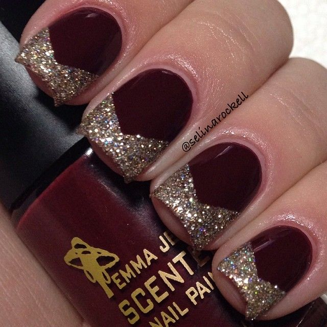 26 Red And Silver Glitter Nail Art Designs Ideas: Dark Red With Gold Tip Nail Art #nail #nails #nailart