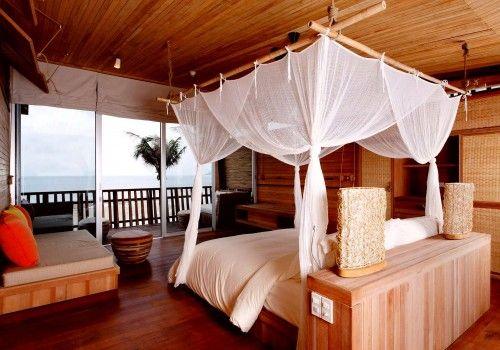 The elegant bedroomy of con dao resort in vietnam