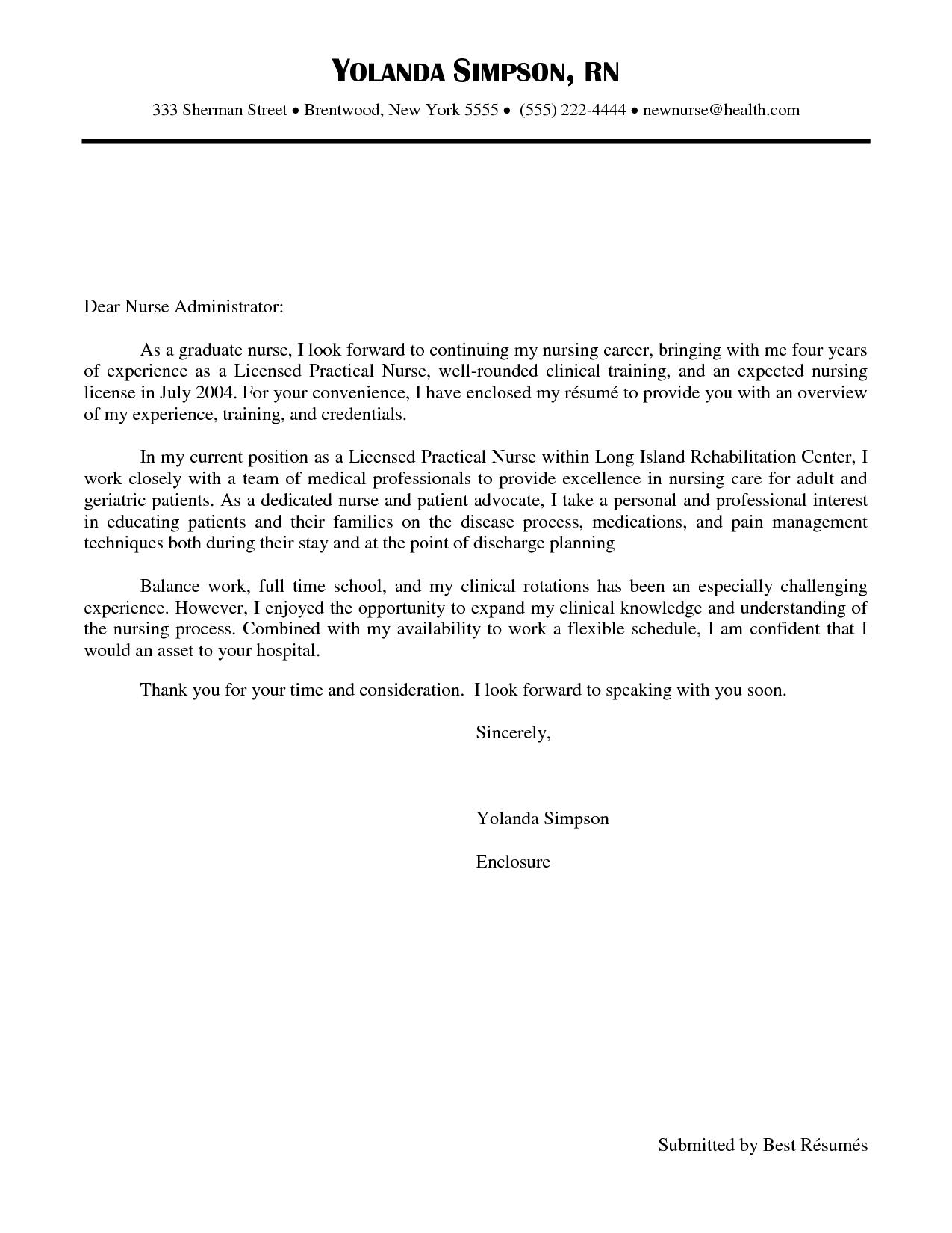 Cover Letter Template Nursing Graduate