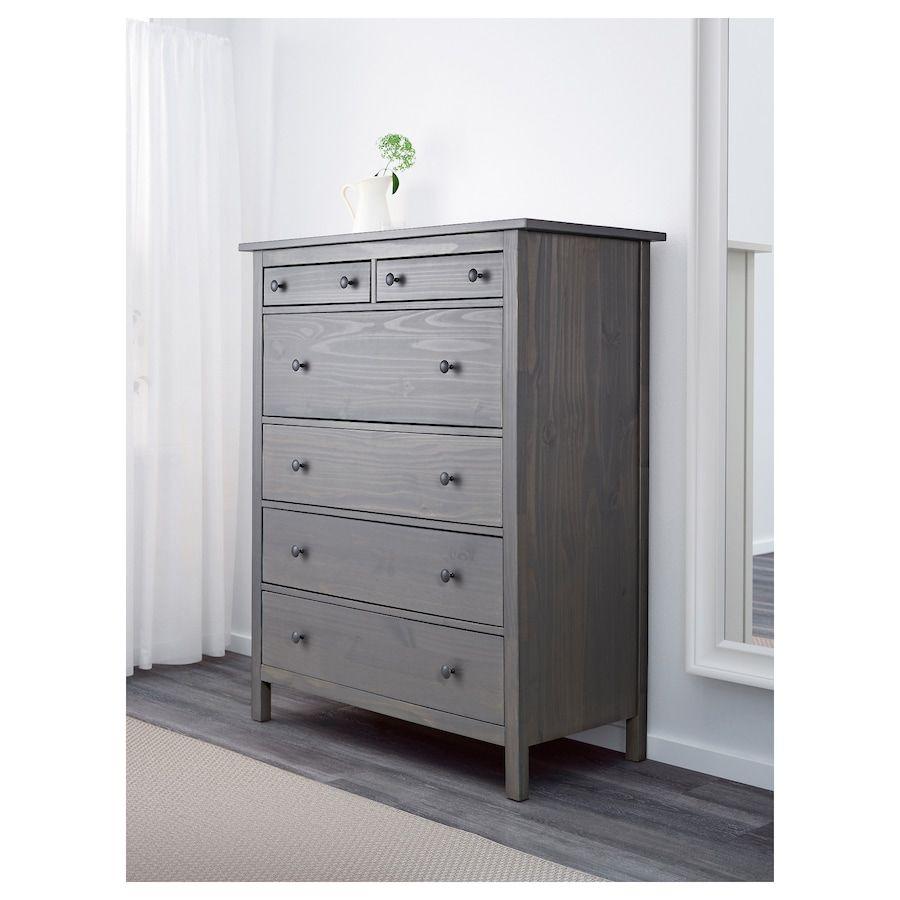 Hemnes 6 Drawer Chest Dark Gray Gray Stained 42 1 2x51 5 8 Ikea In 2020 Ikea Hemnes Dresser 6 Drawer Chest Shabby Chic Dresser [ 900 x 900 Pixel ]