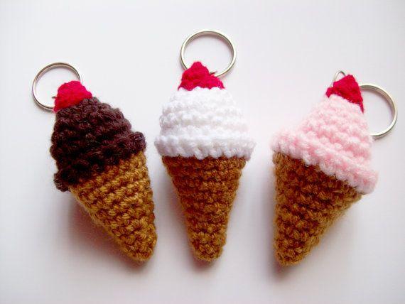 Crochet Amigurumi Ring : Ice Cream Keychain, Amigurumi Crochet Key Ring, Kawaii ...