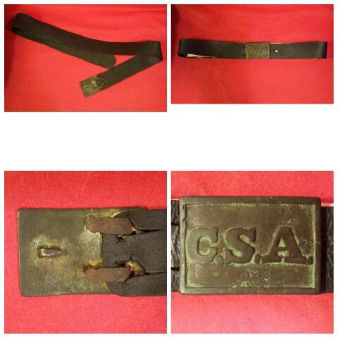 An extremely rare, early pattern, thinner Tennessee style, cast brass rectangular C.S.A. on its original brown/black leather belt. The buckle has Civil War Era field repaired rear hooks that were hand crafted and have been soldered onto the back of the buckle replacing the original cast brass hooks that apparently had broken off. The buckle has a beautiful, rich, aged patina, and the belt is in nice condition as well with no breaks or repairs.