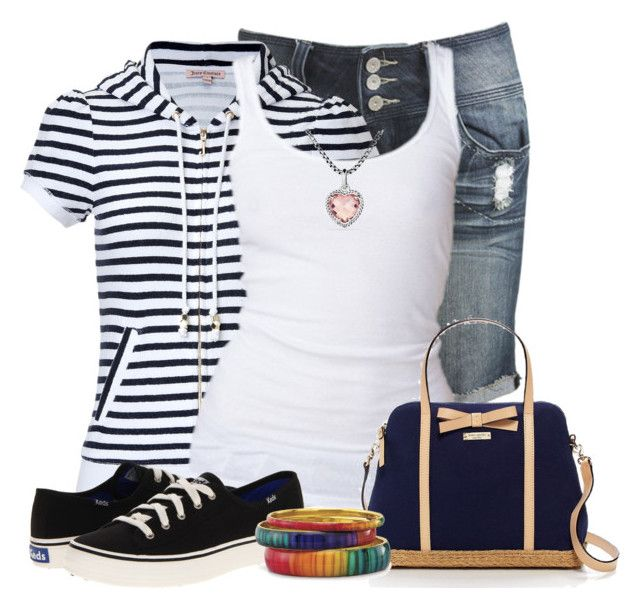 """""""Striped Hoodie"""" by tinam-degen ❤ liked on Polyvore featuring Wet Seal, Juicy Couture, Hilfiger Denim, Kate Spade, Keds and David Yurman"""