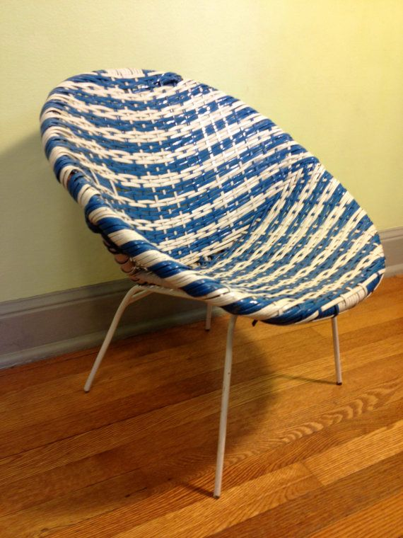 Vintage Childs Saucer Chairblue And White By