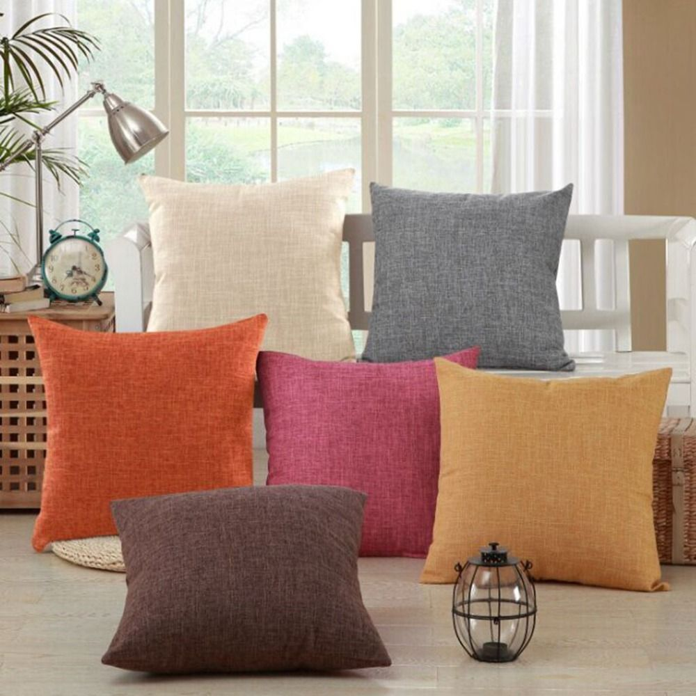 Padat Kuning Merah Putih Abu Abu Nordic Modern Dekoratif Bantal Selimut Katun Linen Cushion Covers Kursi Kursi Sofa Bantal Pillows Cushions On Sofa Modern Decorative Pillows
