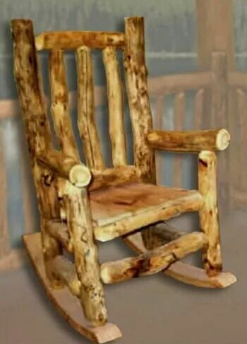 Rustic Log Rocking Chair For Baby