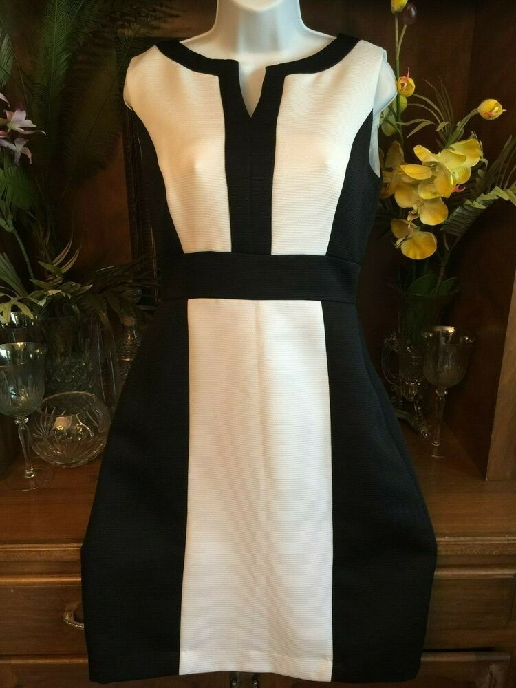 7a9682cc Tahari ASL Colorblock Sleeveless Sheath Dress Womens size 6 Black white  textured #Tahari #SheathDress