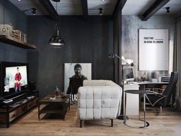 Lieblich Wohnzimmer Ideen Schwarz Grau Farben Decke Balken Sofa