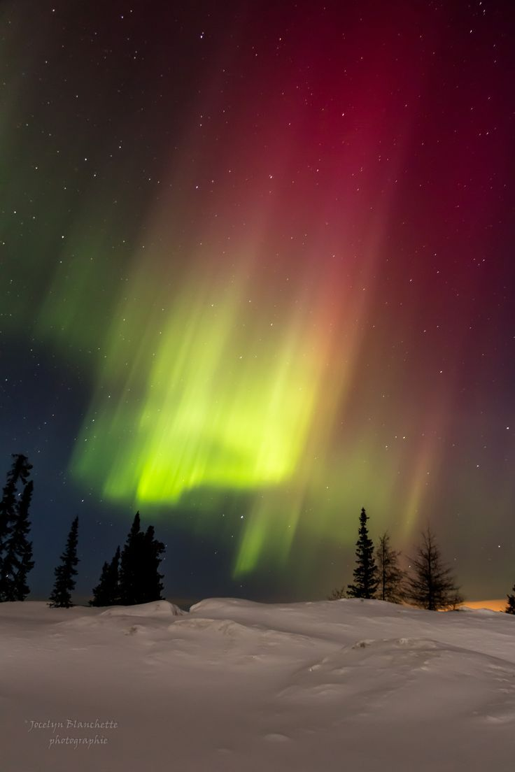 Northern Lights Over The Hill In