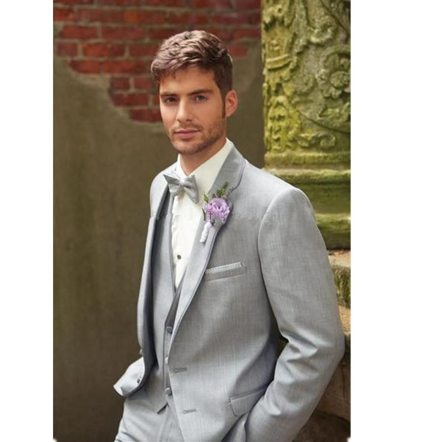 Two Buttons Light Grey Groom Tuxedos Notch Lapel Best Groomsmen ...