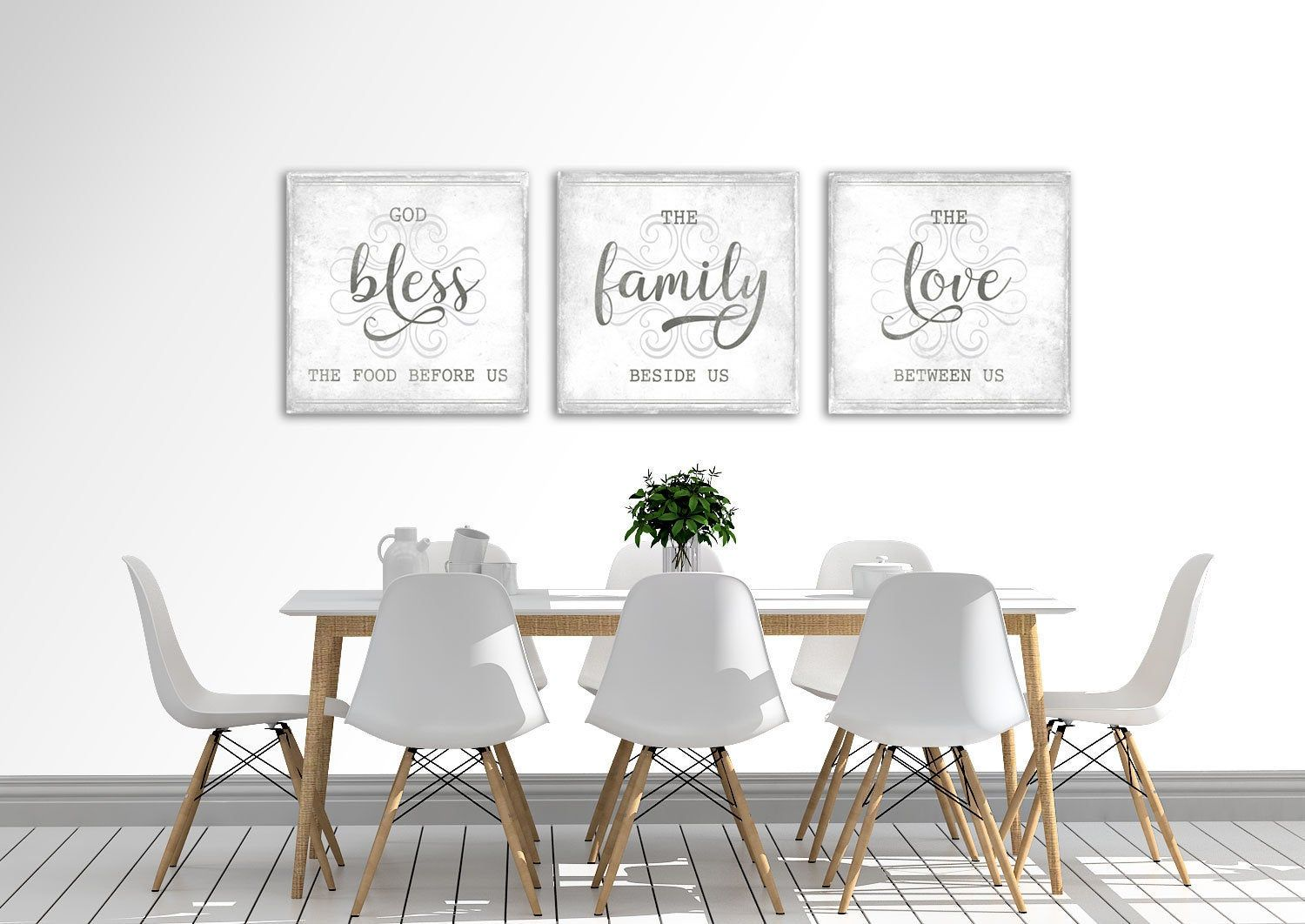 Modern Farmhouse Wall Decor Dining Room Bless The Food Before Us