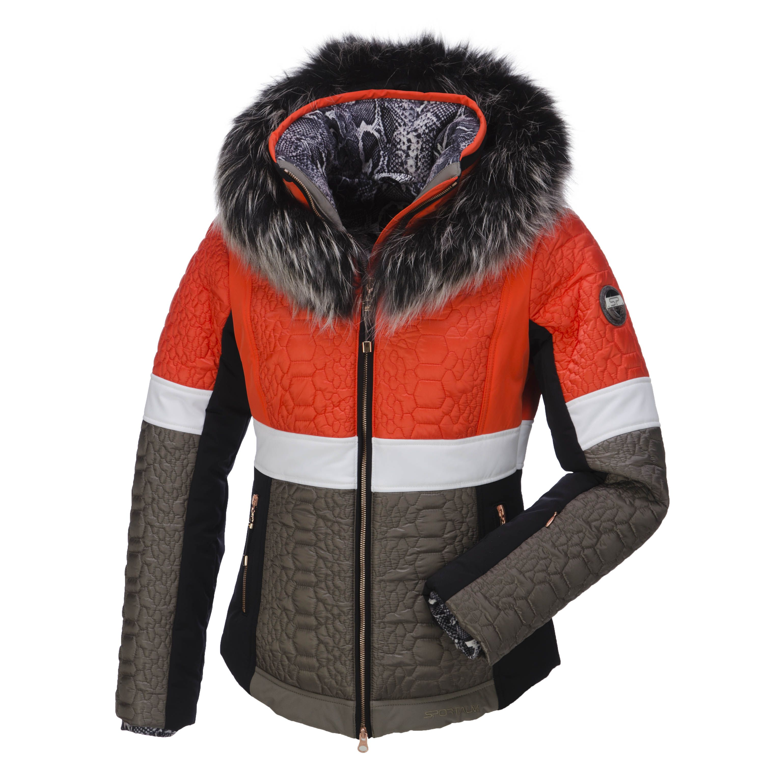 sportalm kitzb hel taha ski jacket with fur collar woman burnt orange posh ski jacket with. Black Bedroom Furniture Sets. Home Design Ideas