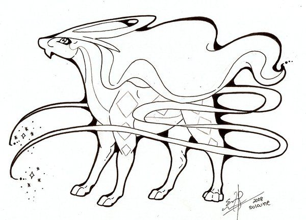 Suicune Lines By Spiderwick19 On Deviantart Pokemon Sketch