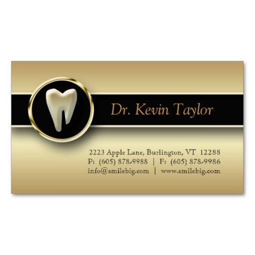 311 Dental Molar Business Card Gold Metallic