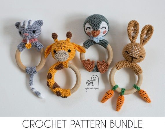 Photo of CROCHET PATTERN BUNDLE Ted the bear crochet baby shower gift set of rattle teether ring, pacifier clip and baby security blanket lovey