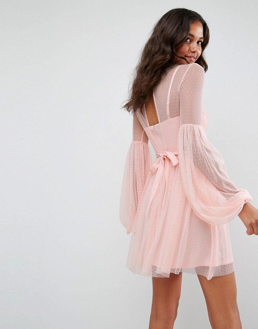 ASOS Dobby Mesh Balloon Sleeve Mini Dress - Pink