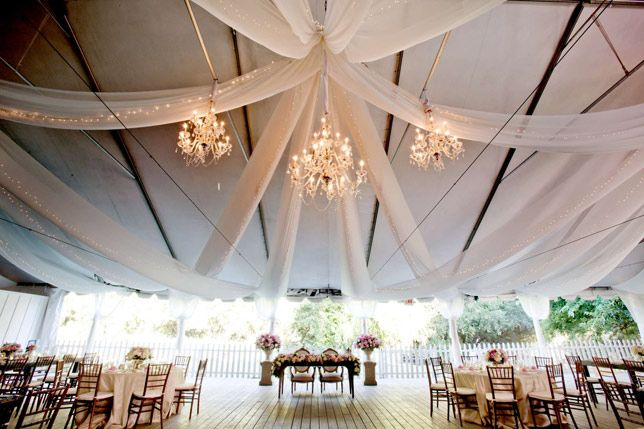 Gorgeous tent and chandeliers