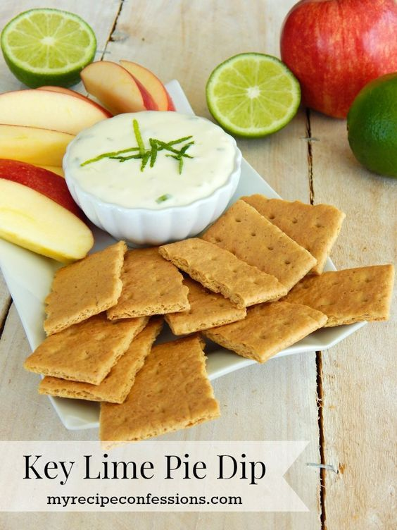 Creamy Key Lime Pie Dip. This dip is delicious twist key lime pie. It is amazing served with graham crackers and fresh fruit. I love to make it for summer BBQs. It can also be served year round at any party with all the other appetizers. It is a different than your traditional fruit dip and there is rarely any leftovers.: