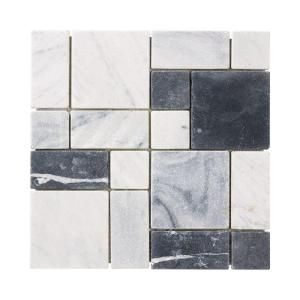 Jeffrey Court Carrara Block 12 In X 12 In X 8 Mm Marble Mosaic Floor Wall Tile 99051 The Home Depot Mosaic Flooring Marble Mosaic Floor Mosaic Floor Tile