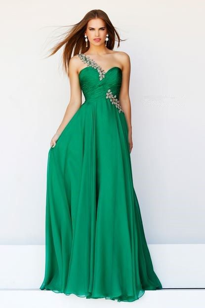 green aline dress one shoulder