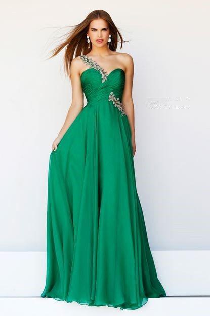 Elegant A Line One Shoulder Long Emerald Green Chiffon Prom Dress ...