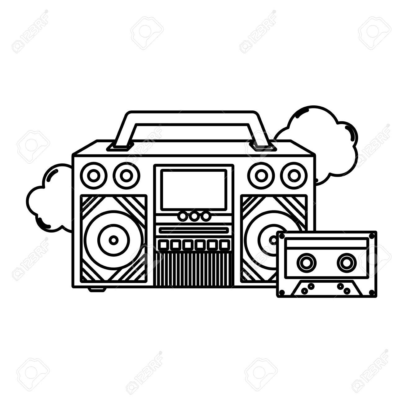 Line Retro Radio Technology With Cassette And Clouds Vector Illustration Sponsored Radio Technology Line Retro Radios Cloud Vector Vector Illustration