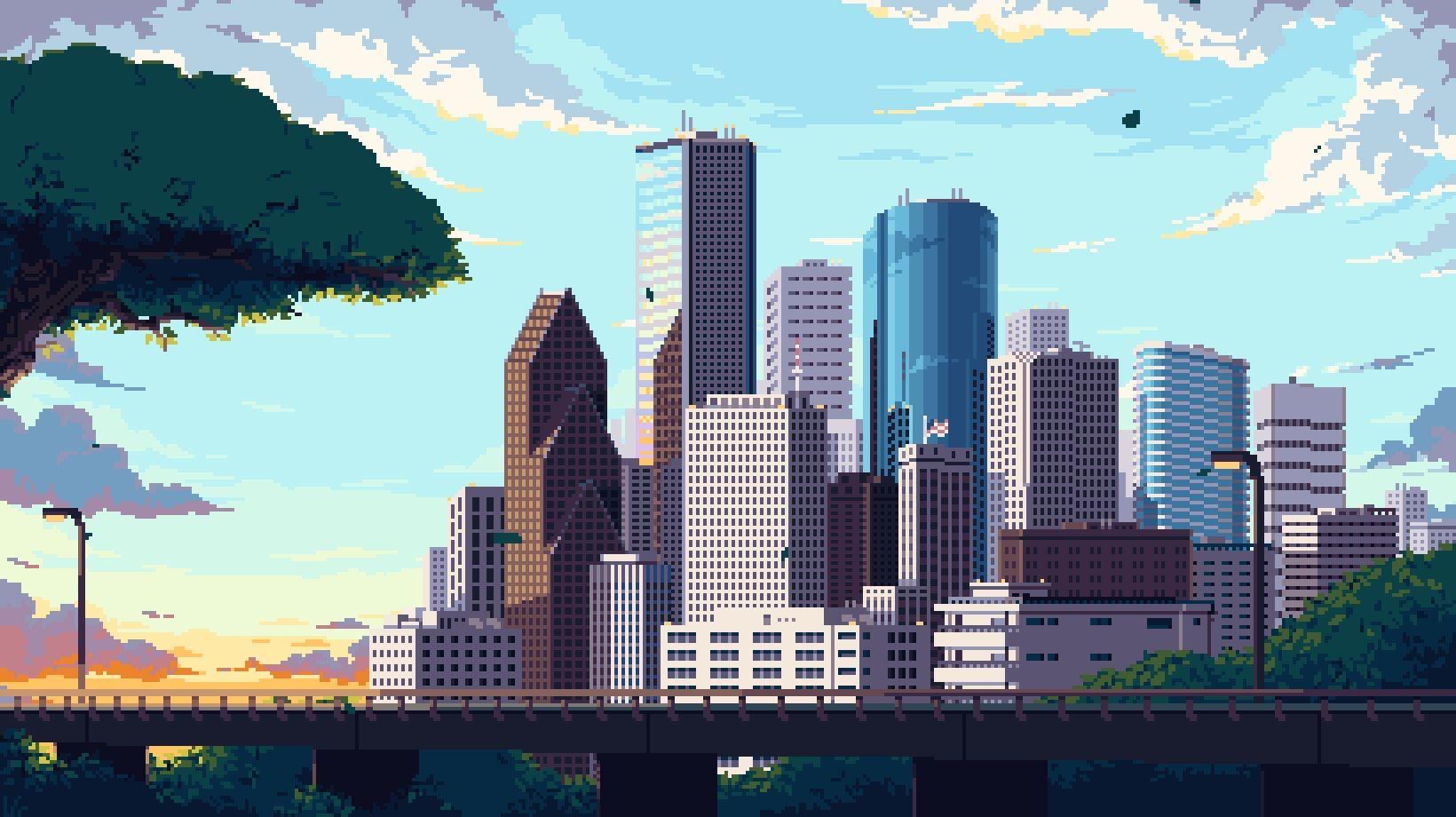 Oc Houston Skyline Animated Pixelart Houston Skyline Skyline Painting Pixel Art