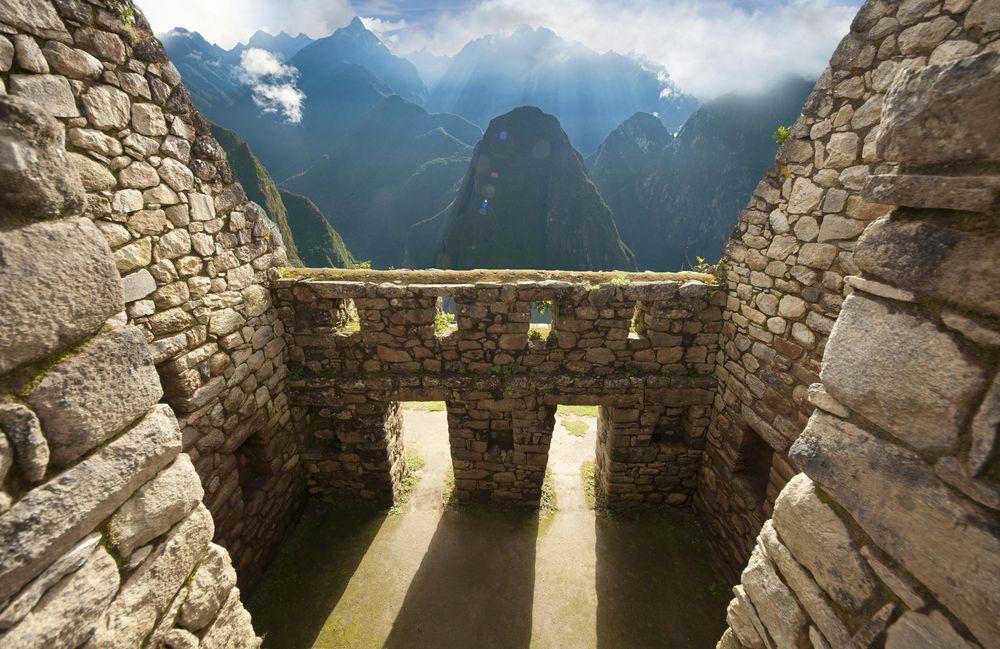 Inca Wall detail in the ancient city of Machu Picchu, Peru