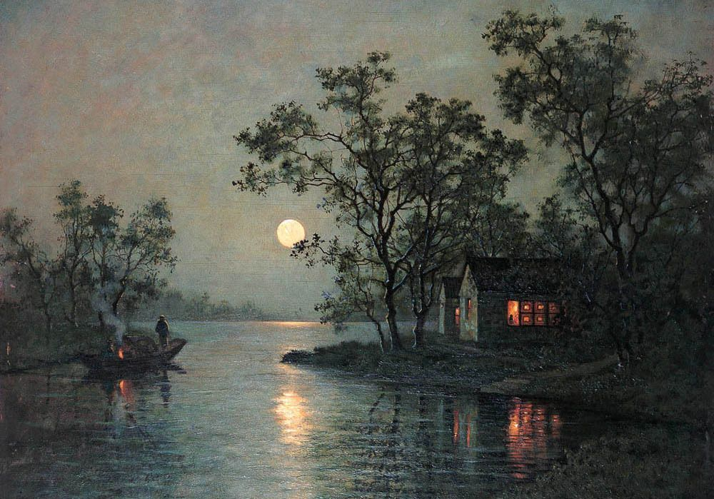 River Landscape At Moon Night With Canoe Village Moonlight Painting Night Landscape Oil Painting Landscape