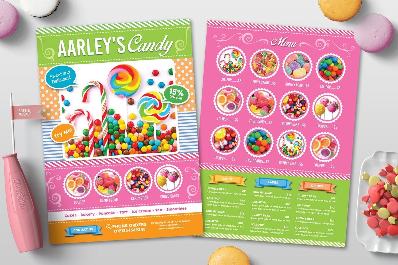 Candy Shop Menu Flyer Template PSD in 2020 Menu flyer