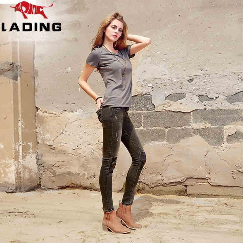 New winter personality hole patch feet pencil pants waist was thin woman with dark jeans