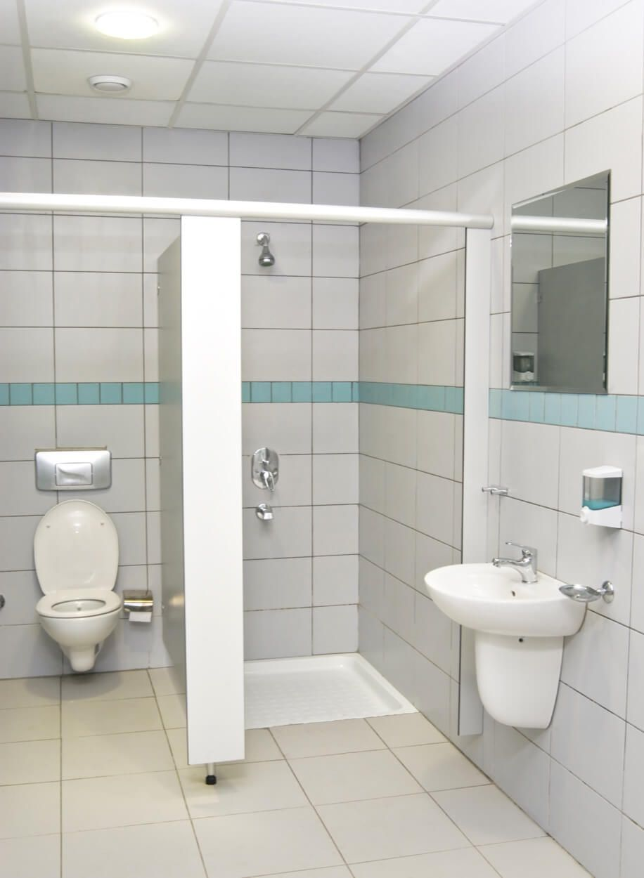 Public Restroom With Stand Up Shower Stall | Renovate Your Bathroom ...