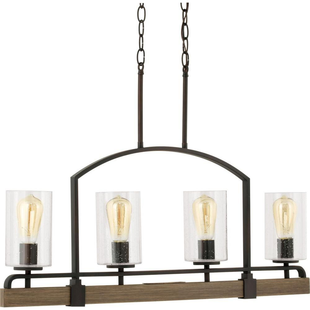 home decorators collection newbury manor collection 4 light vintage bronze linear chandelier - Home Decorators Collection Lighting