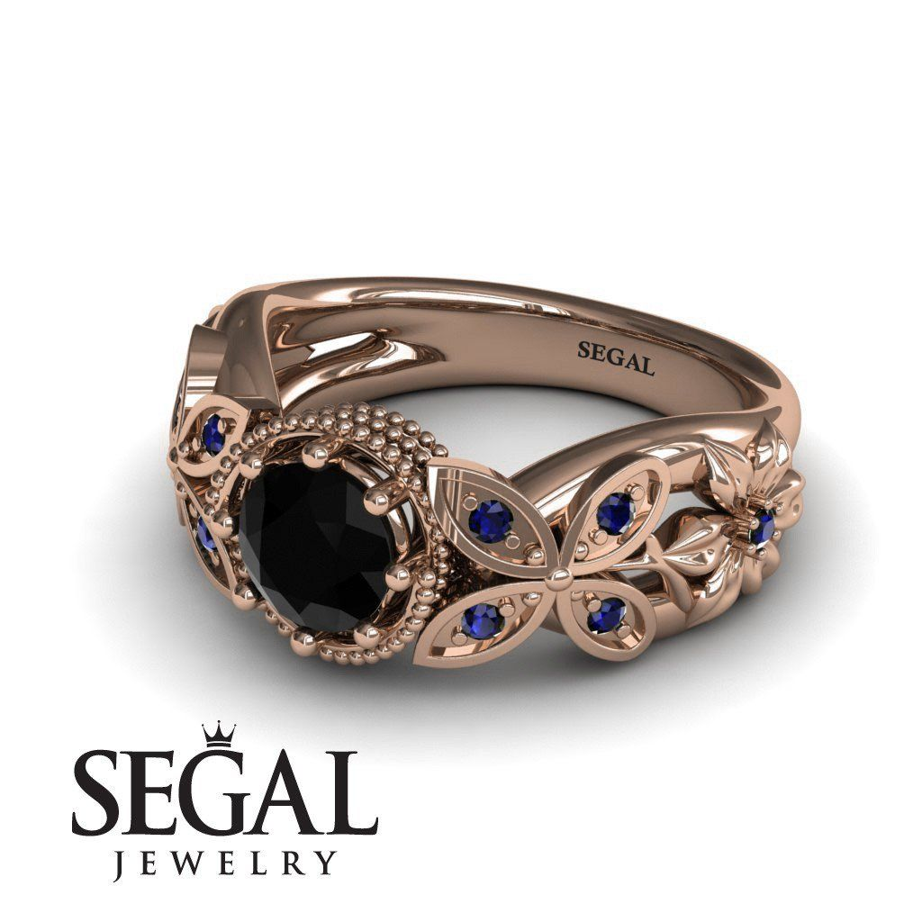 Mounted circle rounds black diamond ring vivian no black